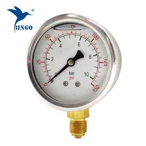 60mm keluli tahan karat kes tembaga sambungan bawah jenis tolok tekanan 150PSI minyak tolok tekanan diisi